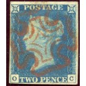 1840 2d blue pl.1 OC with shifted transfer neatly cancelled by a red Maltese cross