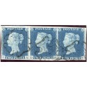 1840 2d blue pl.1 STRIP THREE O.A./O.C. with black Maltese cross handstamp.