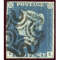 1840 2d blue pl. 1 EE with RARE distinctive Stirling Maltese cross in black.