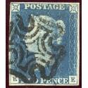 1840 2d blue pl. 1 EE with RARE distinctive Stirling Maltese cross in black.