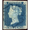 1840 2d blue pl. 1 NE with grey-blue Maltese cross. B.P.A. Certificate.