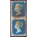 1840 2d blue pl.1 VERTICAL PAIR QG/RG with red Maltese cross.