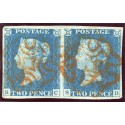 1840 2d pale blue pl.1 PAIR SC/ SD with orange-red Maltese cross.