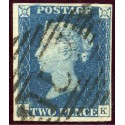 "1840 2d deep blue pl.2 AK with Irish ""157"" 1844 numeral handstamp of Cove (Cork)"