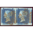 1840 2d blue pl.2 PAIR DB/DC with orange-red Maltese X, rare on this plate.