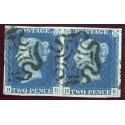1840 2d blue pl. 2 PAIR HD/HE with neat black Maltese cross cancels.