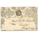 """Cornwall 1840 1d Mulready str-line """"ST IVES C"""" h/s to Tregony"""