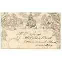 Cornwall 1841 1d Mulready envelope with TREGONEY UDC + ST AUSTELL cds
