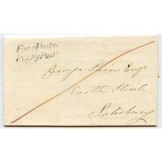 """1840 cover to Salisbury with very fine strike of the """"Four Posts/Penny Post"""" handstamp"""