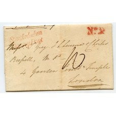 """1837 cover to London superb strike of the """"Stratford on Avon/Penny Post"""" handstamp"""