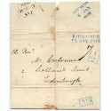 "1838 cover to Edinburgh with BLUE boxed Add ""1/2"" h/s  + ""Kirkcaldy/Penny Post"" h/s"