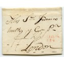 "1819 cover to Huth & Co, London, rated at ""1/1"" then  ""2/1"" + ""Cork/124"" mileage"