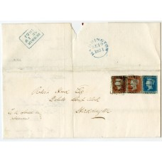 """1851 cover 2 x 1d (different shades) + 2d blue tied """"111"""" DUNBAR numeral cancel"""