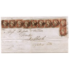 "1851 cover Edinburgh to Falkirk with 10 x 1841 1d red-brown tied ""131"" numeral"
