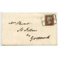 "1854 cover with  imperf 1d red-brown tied boxed ""SAUCHIHALL"" namestamp"