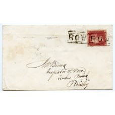 "1859 cover with 1d rose-red tied by scarce ""ROW ROW"" Scots Local"