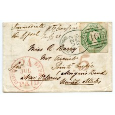 1855 cover 1/- embossed tied Liverpool Spoon - Pointe Coupée, Morgans Bend, New Orleans