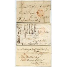 1799 - three covers with very scarce red FREE marking only used 3 months