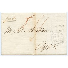 """1807 cover from Glasgow with UNIQUE """"GLASGOW 7"""" datestamp"""