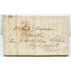 1808 cover from Inverness to Edinburgh with red oval arrival datestamp