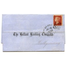 """1857 1d rose red plate 37, lettered KB on an entire printed wrapper addressed to Ballymoney being tied by a superb strike of the Derry """"Irish"""" type """"172"""" """"Spoon"""" duplex"""