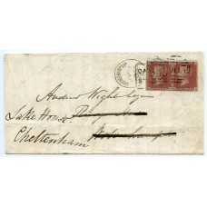 1855 cover 1d red-brown CASTLE STREET  local + WOLVERHAMPTON spoon