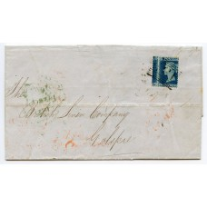 """1854 2d deep blue plate 4, Alph I, SC, Perf 16, a major """"misperf"""" example on cover addressed to Golspie being tied by the """"131"""" numeral of Edinburgh"""