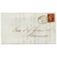 "1855 1d red-brown Die II, plate 4, SC, Perf 14, lettered QL on cover to Manchester  tied by  superb  Liverpool ""466"" ""spoon"""