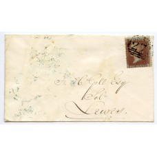 "1855 1d red-brown introduction of Alph III, Die II, SC, Perf 14, plate 23, lettered KD on cover to Lewes neatly tied by the ""271"" numeral of Eastbourne. Spec C7."