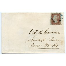 1841 1d pale red-brown plate 35 lettered HI on cover to Stanhope Burn Iron Works, tied by superb strike of  Wolsingham, County Durham, UDC in blue , with a further strike verso. Spec B1vb.