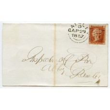 "1856 1d orange-brown Die II, Alph III, LC, Perf. 14, plate 27, lettered DF on a locally addressed wrapper being tied by the Paisley ""277"" experimental duplex"