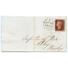 "1856 1d red-brown Die II, Alp III, LC, Perf 14, plate 36, lettered NA on a locally addressed wrapper being tied by the Paisley ""277"" experimental duplex"