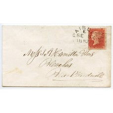 "1857 1d pale rose-red, Die II, Alp III, LC, Perf 14, plate 43, lettered EL on cover to Blacklandmill, tied by the Paisley ""277"" experimental duplex"