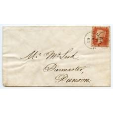 1857 1d rose-red plate 42, lettered AG on a locally addressed envelope, being neatly tied contrary to regulations by two strikes of the Dunoon cds