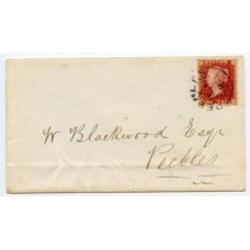1857 1d rose-red plate 46, lettered BE on a locally addressed envelope from Innerleithen, tied  by the Peebles single ring receiving mark datestamp