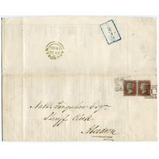 1855 wrapper with pair 1855 1d red-brown Spec. # C4, Aberdeen numeral