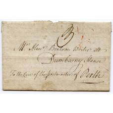 "1790 22nd October, an entire wrapper from Edinburgh rated at ""3"" in black manuscript being addressed to ""Mr Alex Beatson Writer at, Dumbarny Manse, to the care of the postmaster of Perth."