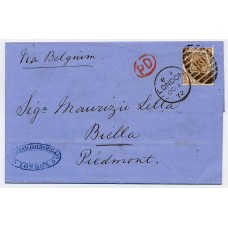 1872 entire letter from London to Italy bearing 6d chestnut tied by duplex cancel. Very fine.