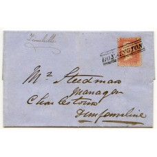 "1857 1d rose-red on entire to Charlestown tied by very fine strike of the rare Edinburgh ""Bonnington"" Type VII Scots Local handstamp."