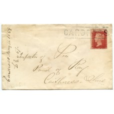 """1859 cover to Caithness 1d Stars - rare """"CARDROSS"""" Scots Local cancel"""
