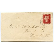 "1861 cover to Dumbarton 1d Stars - RARE ""DUMBARTON"" undated cancel"