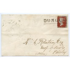 "1857 cover to Paisley 1d Stars - rare ""DUNGLAS"" Scots Local cancel"