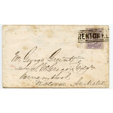 "1857 cover to AUSTRALIA 1d Stars with scarce ""RENTON RENTON"" Scots Local cancel"