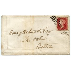 "1858 cover to Bolton 1d Stars with scarce ""RENTON RENTON"" Scots Local cancel"