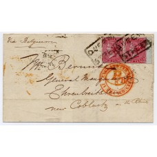 """1855 4d deep bright carmine watermark Small Garter, two examples on a wrapper paying the 8d rate via Belgium to Coblentz, Prussia, both tied by the boxed """"QUEEN STREET"""" local handstamp"""