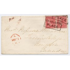 "1856 4d pale carmine watermark Medium Garter, horizontal pair on an envelope paying the 8d British Packet rate to Kingston, Canada, both tied by the boxed ""CHARLOTTE PLACE"" local handstamp of Edinburgh"