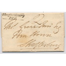 "1820 entire addressed within Shaftesbury  with the boxed ""Shaftesbury/PyP."" penny post handstamp."