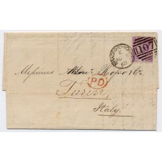 "1867 6d purple plate 6 (with hyphen) on a wrapper addressed to Turin, Italy being neatly tied by the Bradford-Yorks ""107"" duplex"