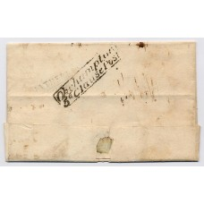 "1830 entire wrapper  to Plymouth from Holsworthy rated at ""8"" in m/s with the scarce boxed ""Okehampton/5th Clause Post"" ."