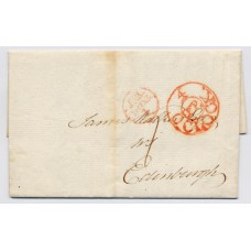 "1804 an entire wrapper addressed to Edinburgh from London bearing on front the circular Edinburgh ""4 O'Clock/ PP"" time mark"